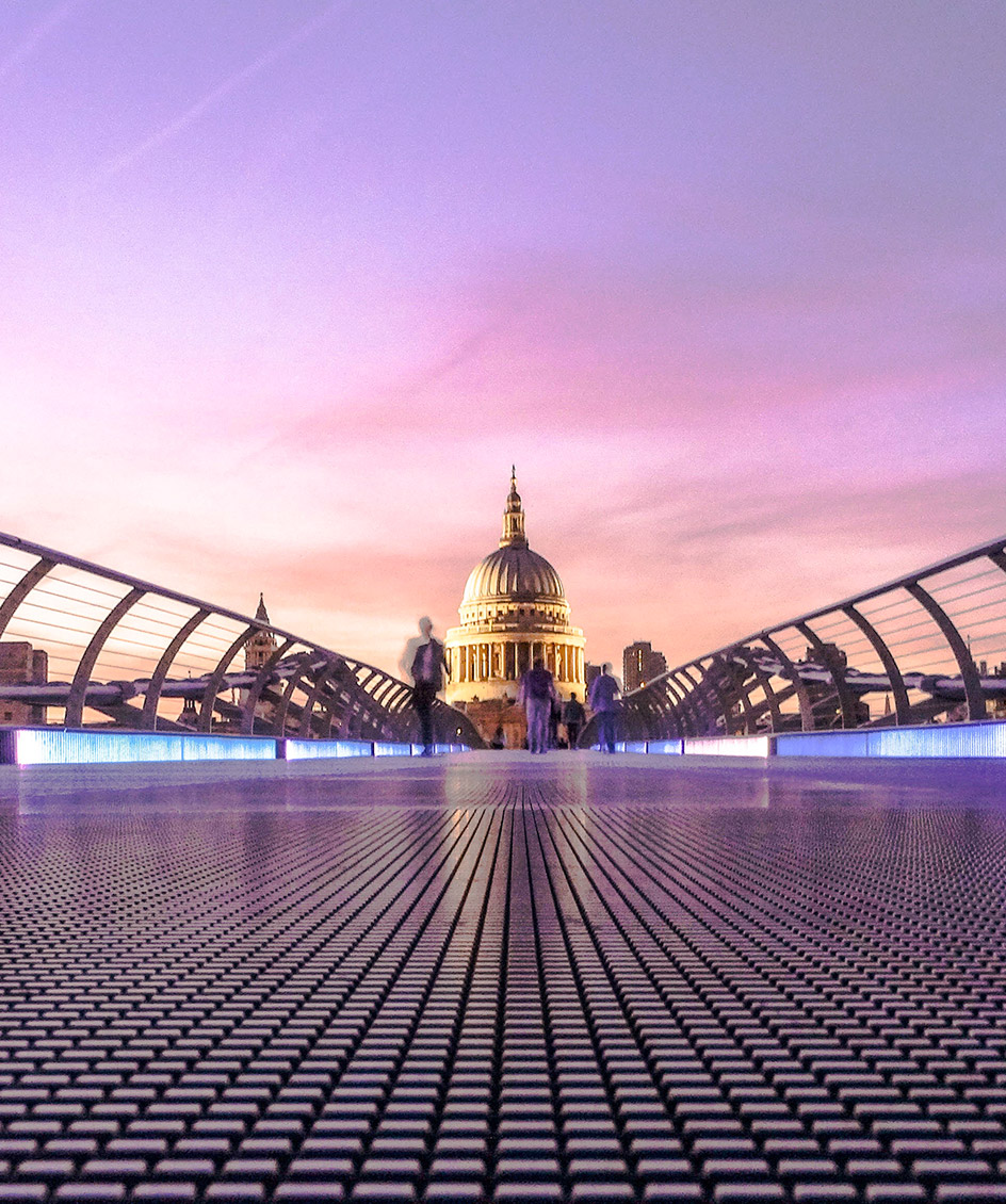 Image of St.Paul's Cathedral in London from the Millenium Bridge